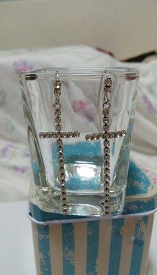 十字長型垂墜式耳環