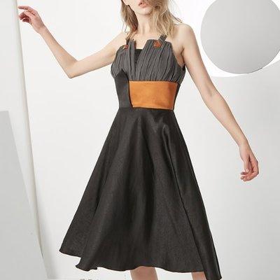 洋裝 #J-157 吊帶裙 拚色束腰顯瘦 大裙擺遮肥臀