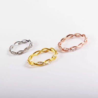 ↪現貨↩ 💕歐美跨境時尚爆款簡約鑲鑽麻花戒指 女士環保銅鑲鑽扭曲新娘指環
