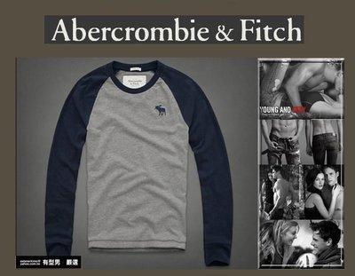有型男~ A&F Abercrombie&Fitch 旗艦店款棒球長T 大麋鹿款 Calamity Pond navy
