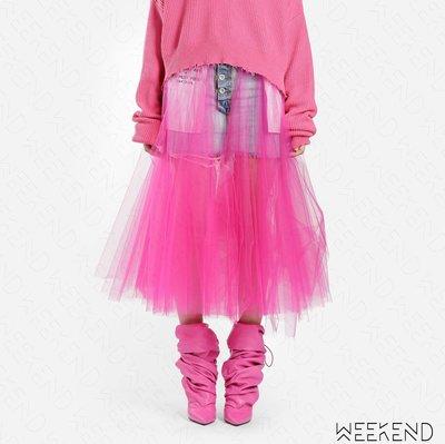【WEEKEND】 UNRAVEL 抽鬚 不修邊 破壞 牛仔裙 窄裙 迷你裙 拼接 紗裙 桃紅色 19春夏