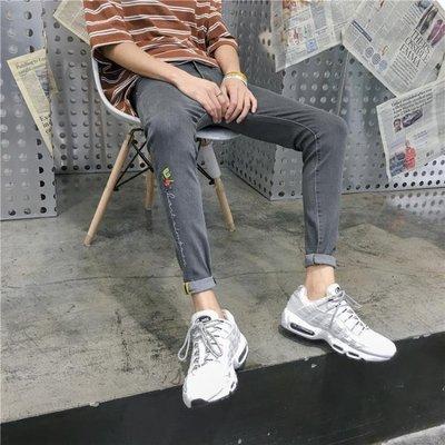 潮流男士牛仔褲新款港風鉛筆褲修身小腳九分褲子男灰色學生夏季薄