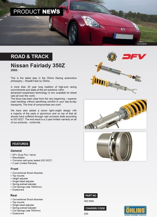 Nissan 350Z Infiniti G35 03-07 專用 瑞典 Ohlins Road & Track 避震器