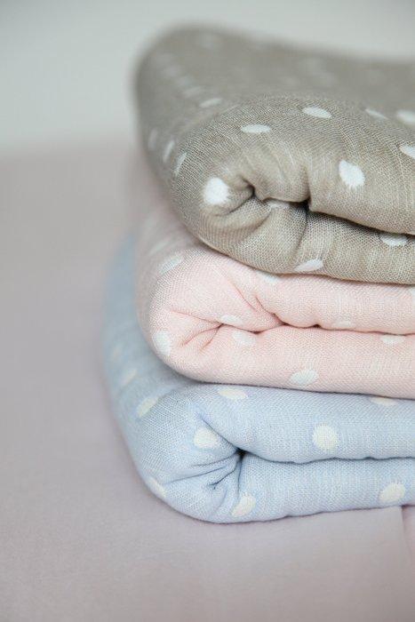 發現花園 日本選物~日本製 洛中 高岡屋 水玉點點  6重紗布被  大人用-粉紅 / 粉藍 / 淺棕