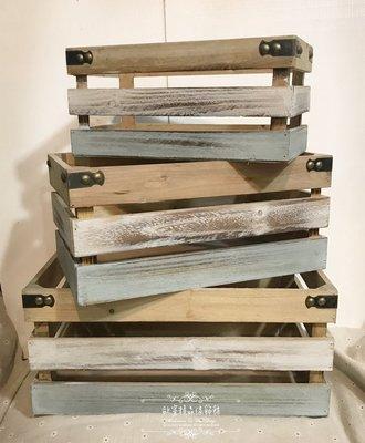 ~*歐室精品傢飾館*~Zakka 鄉村雜貨 Loft 工業 復古 刷舊 木箱 木盒 拼接 刷色 擺飾 花盒 ~新款上市~