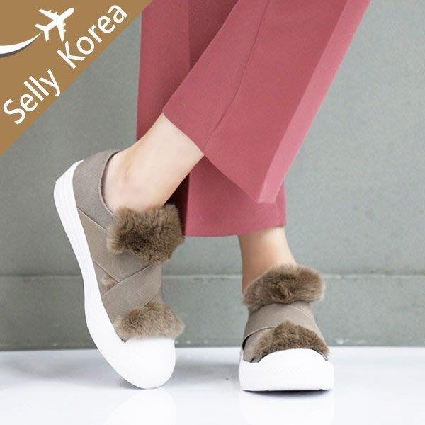 懶人鞋 正韓 兔毛丹寧 交叉鬆緊帶 厚底鞋-Selly-沙粒-(KR195)2色
