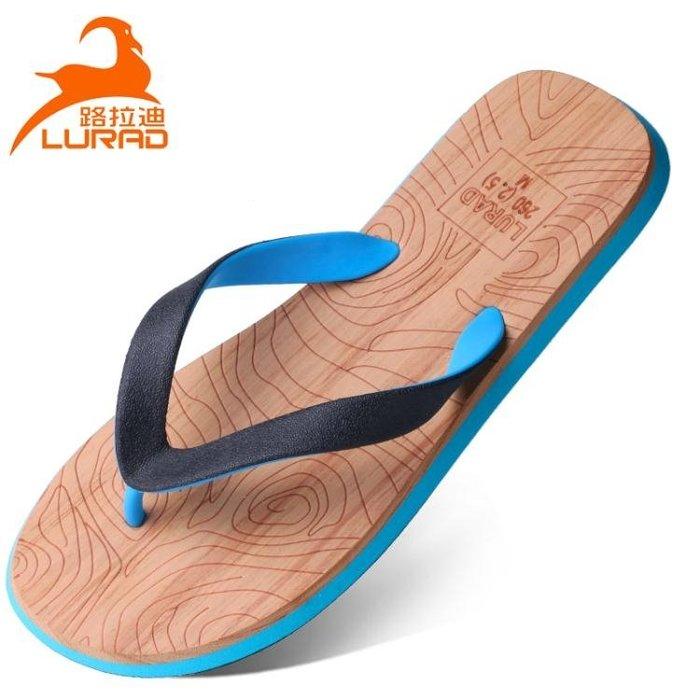 路拉迪人字拖男士夏季木紋涼拖鞋防滑平跟甲腳涼鞋沙灘鞋歐美潮流