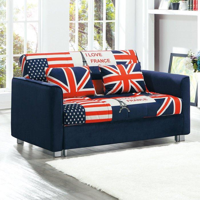 【在地人傢俱】19 樂樂購-969英國國旗藍色布2人/二人/雙人沙發床/沙發椅 JL93-1