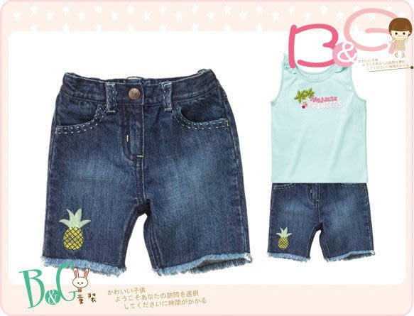 【B& G童裝】正品美國進口Crazy8刺繡鳳梨牛仔短褲3,4,5yrs