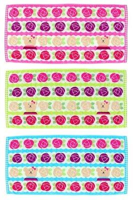 尼德斯Nydus~* 日本正版 彩虹熊 Rainbow Bear 浴巾 大毛巾 小玫瑰 120cm 100%純棉-日本製