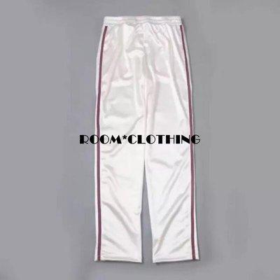 ROOM_CLOTHING- 歐美復古個性撞色復古包邊紅線鬆緊口袋運動美式休閒運動褲緞面亮面長褲九分