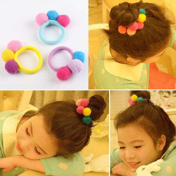 ~小桃子 韓版 毛絨球彈力彩色髮圈 可愛兒童女童髮飾髮束 現貨當天出 4色可選