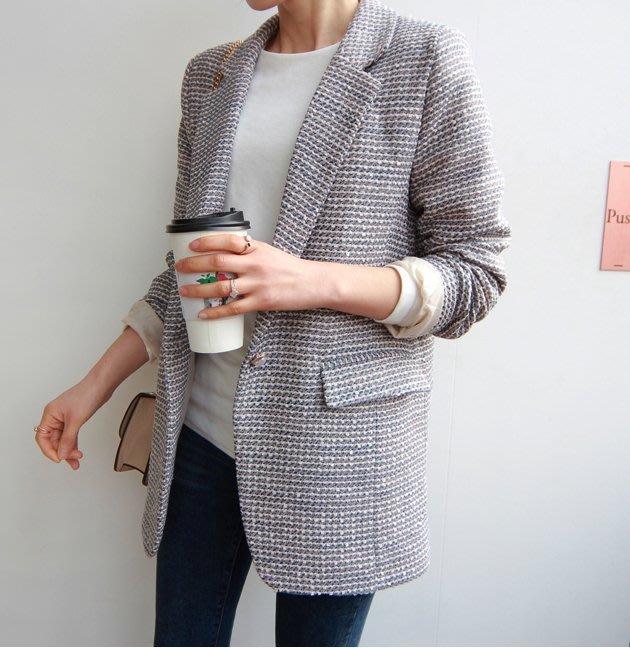 Gigi歐尼 韓國代購 正韓 【 BH2036  】混編質料珍珠釦西裝外套(2色)