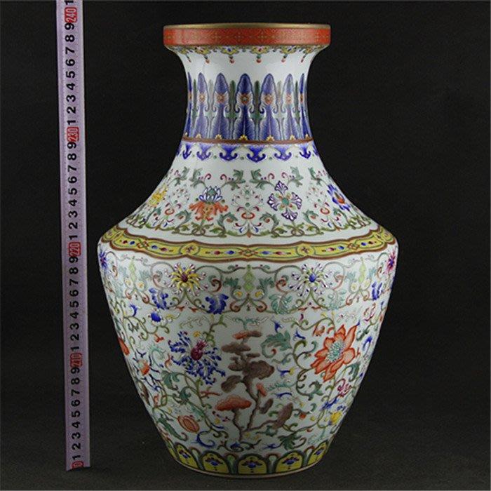 大清乾隆琺瑯彩堆花描金盤口瓶 仿清代官窯古瓷器 古玩古董擺件仿品