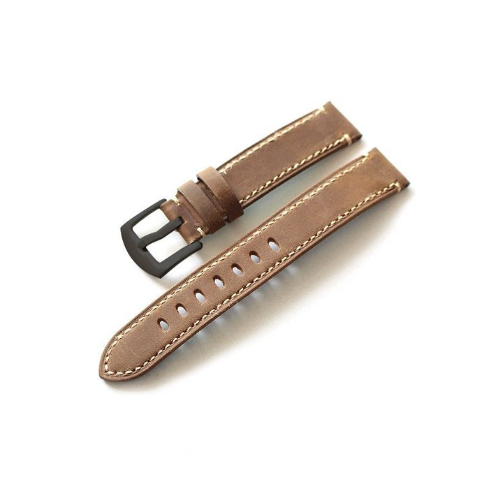 手工制作柔軟真皮錶帶 18MM 20MM 棕色復古 男意大利真皮錶帶錶帶