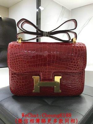 名品匯 Hermes Constance 紅色 金扣銀扣 鱷魚皮 18cm 24cm 單肩包斜挎空姐包