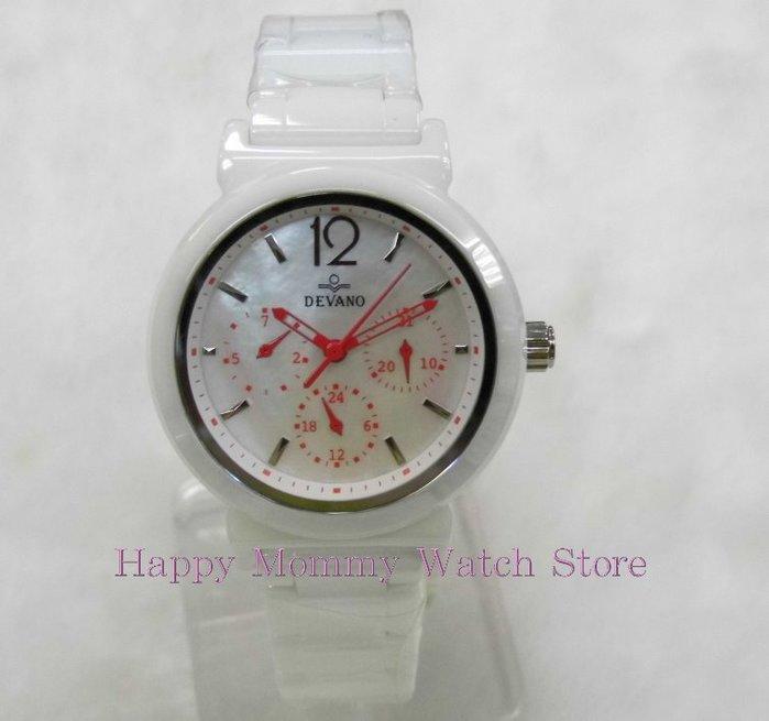 【 幸福媽咪 】網路購物、實體服務 DEVANO 帝凡諾 藍寶石 三眼計時 陶瓷錶,35mm DV-1218