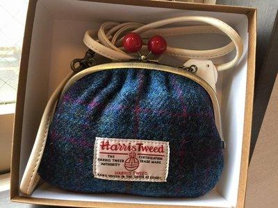 英國百年經典老牌Harris Tweed  撞色羊毛斜背包