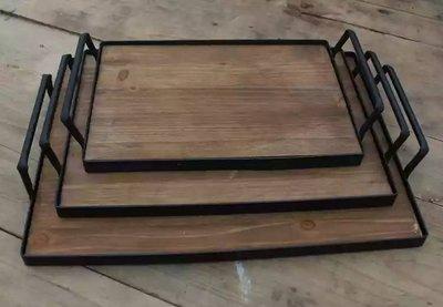 0053 美式鄉村鐵藝木質雙耳長方形套三托盤 拍照道具