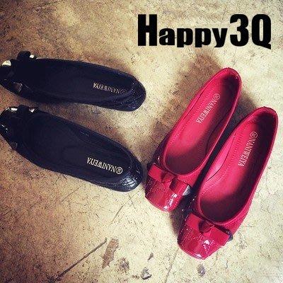 經典歐美風方頭漆皮蝴蝶縫線結平底娃娃鞋-黑/藍/紅35-41【AAA0134】預購