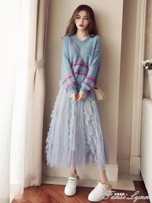 秋冬裝女韓版新款女寬鬆v領毛衣 中長款網紗半身裙套裝兩件套 一件免運