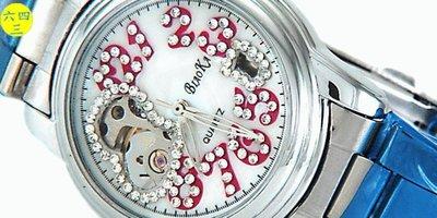 (六四三精品)錶徑3.5BIAOKA(真品)鏤空愛心手動上鍊機械鑽錶錶.錶背鏤空可欣賞機芯運作