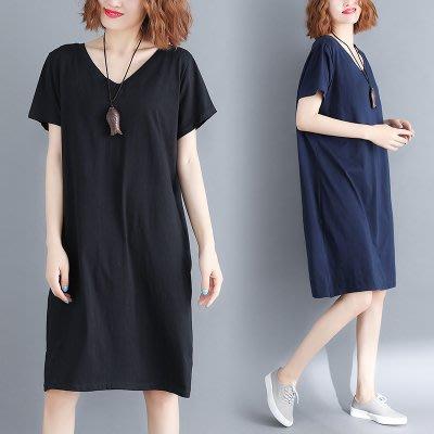 六色-寬鬆顯瘦後背交叉設計V領短袖連身裙洋裝 中大尺碼 L ~ 5XL另有棉麻蝴蝶結雪紡衫繫帶短袖洋裝