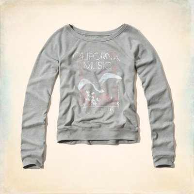 【Hollister Co】Shelter Islands Drapey Shine Sweatshirt 長T-現貨M