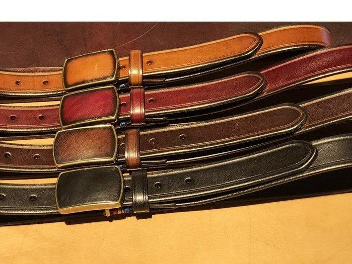三木子會社-2.8CM寬男女款休閑腰帶真皮手工銅扣牛皮皮帶