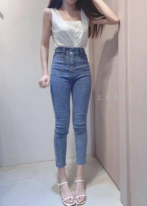 【蜜小姐】ᴋᴏʀᴇᴀ❤️ 高腰雙口袋顯瘦彈性牛仔褲