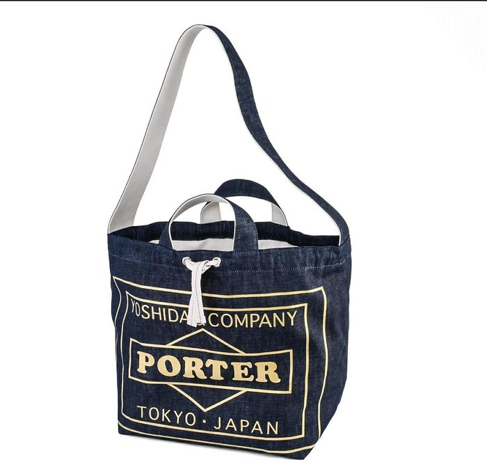 Porter KuraChika Newspaper Bag Gold Ver 報袋 束口袋 手提包 肩背包 雙面Logo Indigo 丹寧 復古 限定 日製
