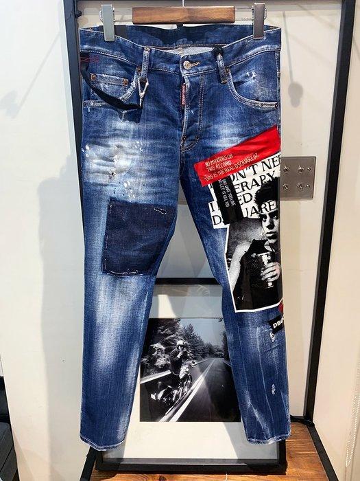 現貨【DSQUARED 2】2019春夏 人臉貼布拼接SKATER牛仔褲 *40%OFF*