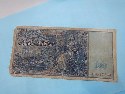 ☆孟宏館☆德國舊馬克1908年100馬克~紙鈔鈔票~H085