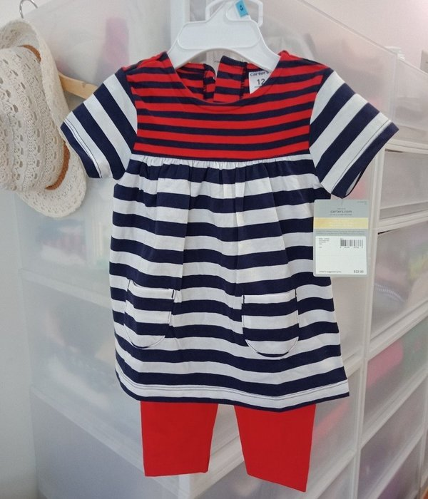 【BJ.GO】carter's 童裝 2-Piece 套裝 洋裝+長褲套裝 兩件一組