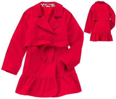V1@☆蠍蠍傳說☆Crazy 8 Ruffle Trench Coat 正紅色荷葉裙擺風衣外套(XL/10-12t)〕