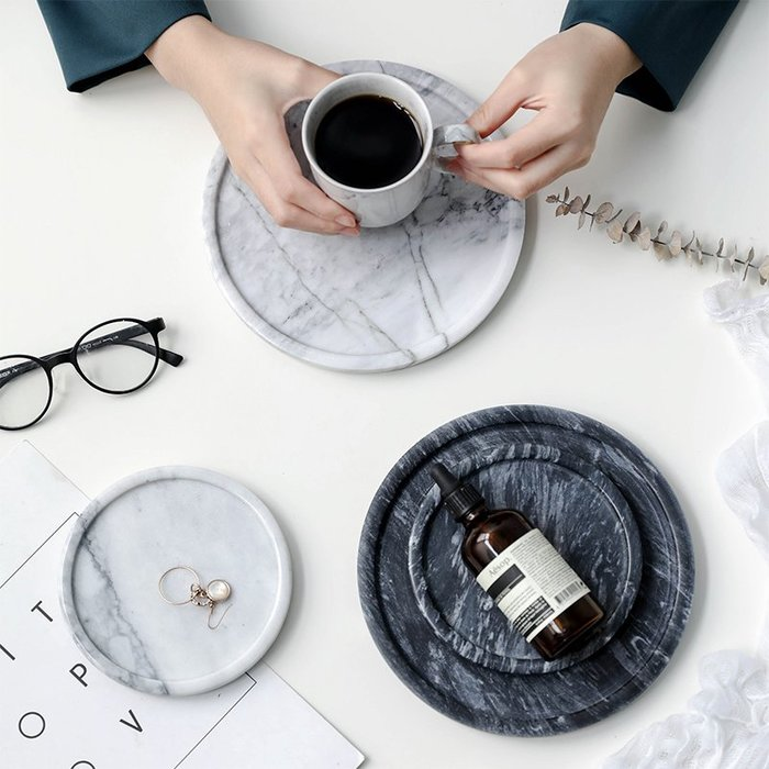 MAJPOINT-歐式 大理石托盤 首飾手錶珠寶零錢 收納盤 雜貨 點心餅乾 蛋糕麵包展示盤 廚房裝潢 美甲道具 代購