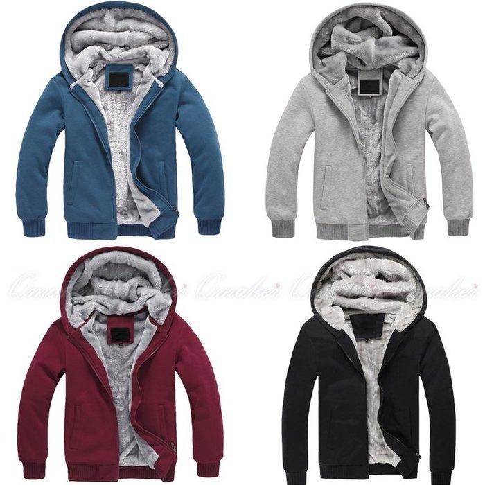 Qmaker 冬季 戶外 加絨加厚 冬裝連帽運動休閑外套 刷毛外套 羽絨外套