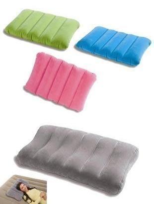 美國 多彩INTEX 成人 兒童 超輕植絨充氣枕頭 充氣坐墊 旅行 靠墊 頸枕 充氣床露營