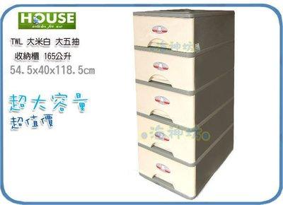 海神坊=台灣製 TWL15 大五抽收納櫃 五層櫃 整理箱 置物箱 抽屜櫃 整理櫃 分類箱 165L 3入3650元免運