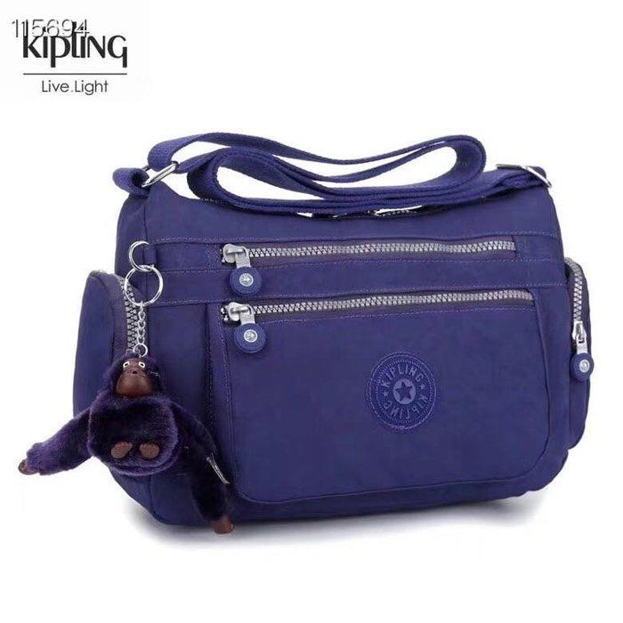 Kipling 猴子包  K132127 藍紫 多夾層拉鍊款輕量斜背包肩背包 大容量 旅遊 防水 限時優惠