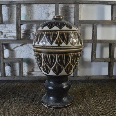 百寶軒 仿古瓷器復古南宋風格定窯黑釉官帽瓶古董古玩收藏品擺件花瓶 ZK2149