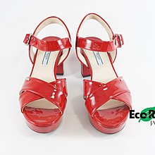 [Eco Ring HK]*Prada Heeled Sandals Size 38 Patent Leather Red*Rank A -197018510-