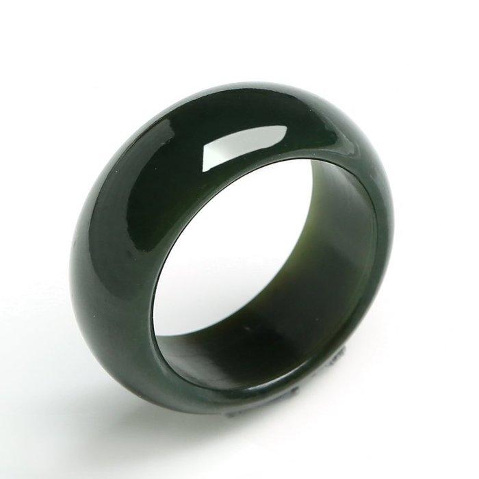 【福寶堂】高檔正品新疆和田玉青玉戒指 男女天然玉石油潤細膩墨玉指環