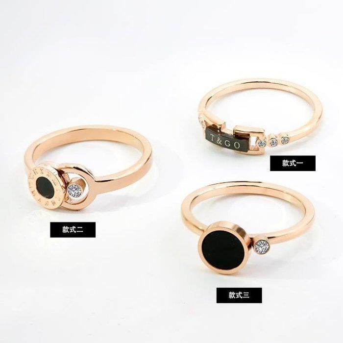 正韓時尚玫瑰金帶鑽鈦鋼黑色字母戒指女細 食指環戒子飾品不褪色
