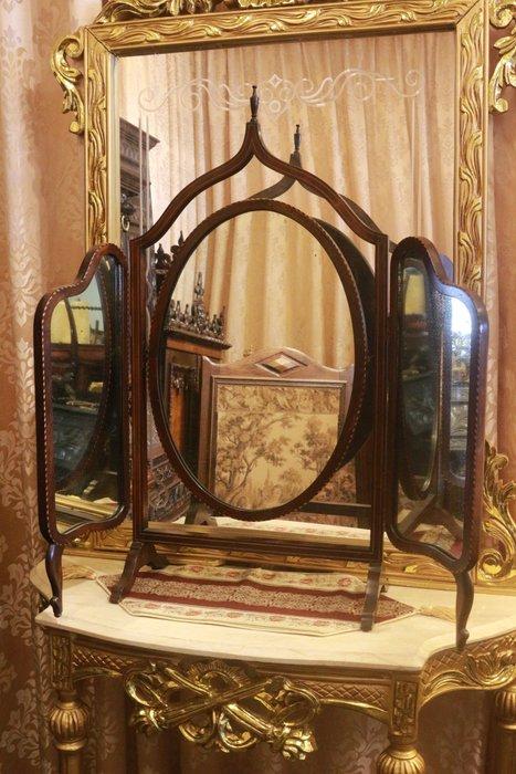 【家與收藏】特價稀有珍藏歐洲古董英國19世紀古典精緻珍貴手工老檀木Inlaid鑲嵌三面鏡/桌鏡5