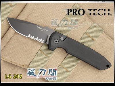 《藏刀閣》Protech-(LG202)Rockeye自動側彈刀(黑刃/半齒)