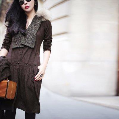 《巴黎拜金女》磨毛洗水麂皮感低腰打底連衣裙