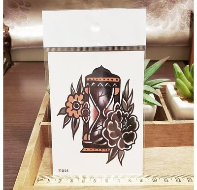 【萌古屋】】黑花朵沙漏 - 手背防水紋身貼紙刺青貼紙16 K12