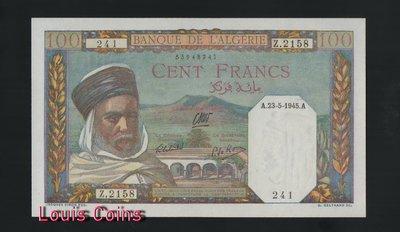 【Louis Coins】B149-ALGERIA--1945阿爾及利亞紙幣