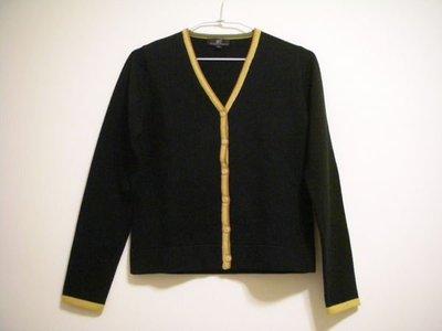 全新 NET 正黑色女款黃橙配邊溫暖厚實彈性長袖針織外罩衫毛衣 [ 非薄貼軟款 ] MADE IN HONG KONG